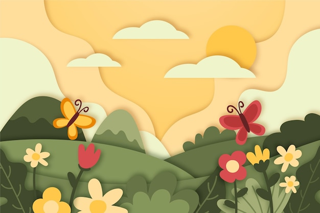 Paper style landscape with butterflies