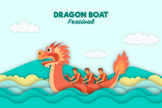 Paper style layers dragon boat background