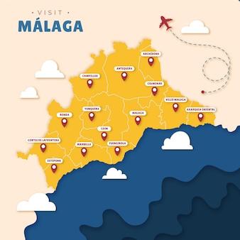 Карта малаги в бумажном стиле