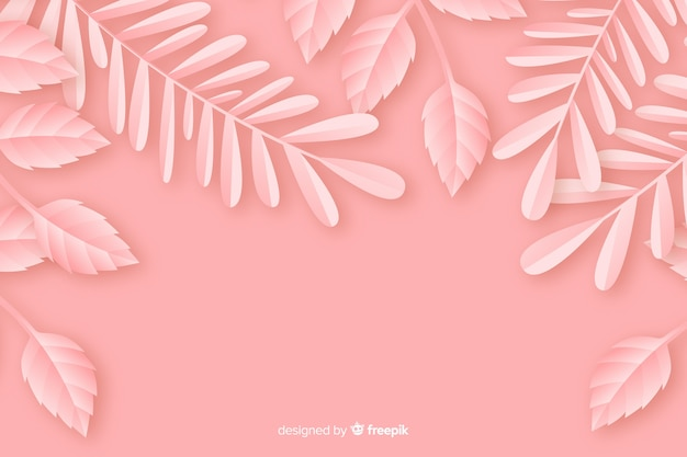 Paper style monochrome background with leaves