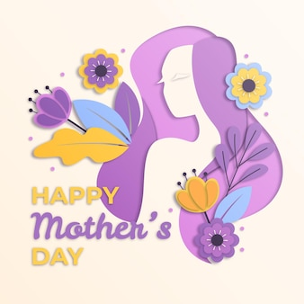 День матери в бумажном стиле