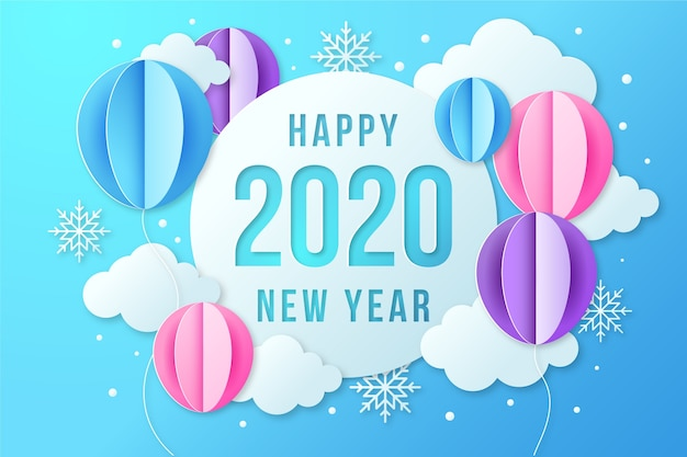 Paper style new year background