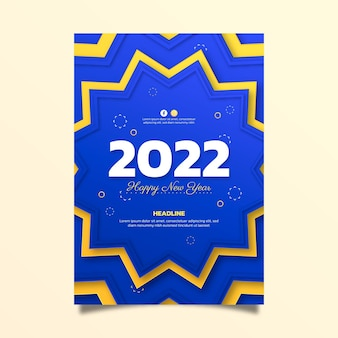 Paper style new year vertical poster template