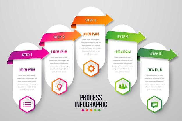 Paper style process infographic template