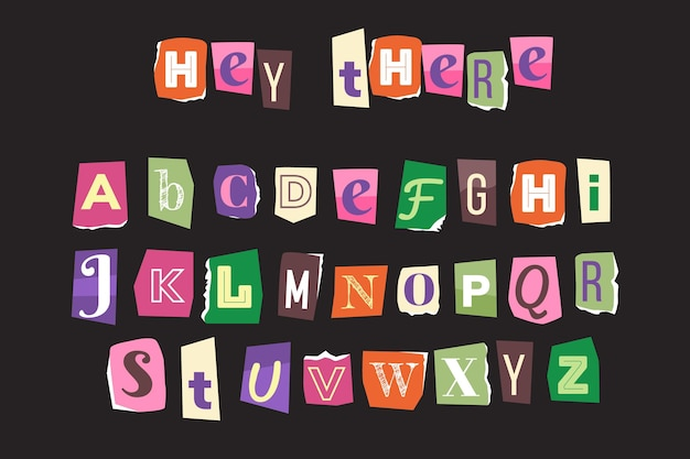Paper style ransom note letter collection