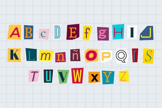 Set di lettere per la nota di riscatto in stile carta
