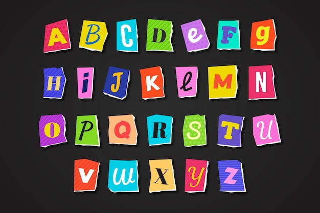 Paper style ransom note letter set