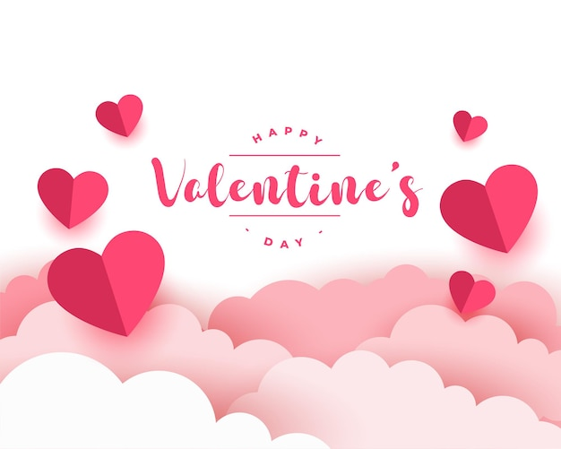 Paper style realistic valentines day card design