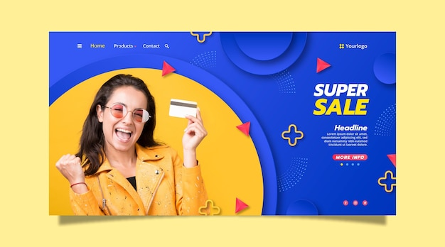 Paper style sale landing page template with photo