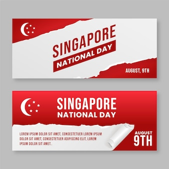 Set di banner per la festa nazionale di singapore in stile carta