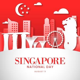Illustrazione della giornata nazionale di singapore in stile carta