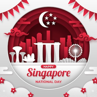 Paper style singapore national day illustration