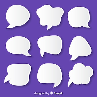 Paper style speech bubble on  purple background
