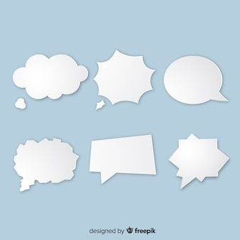 Paper style speech bubble variety