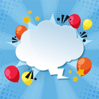 Paper style speech bubble with balloons