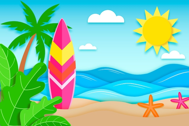 Paper style summer background