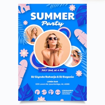 사진과 함께 종이 스타일 여름 파티 세로 포스터 템플릿