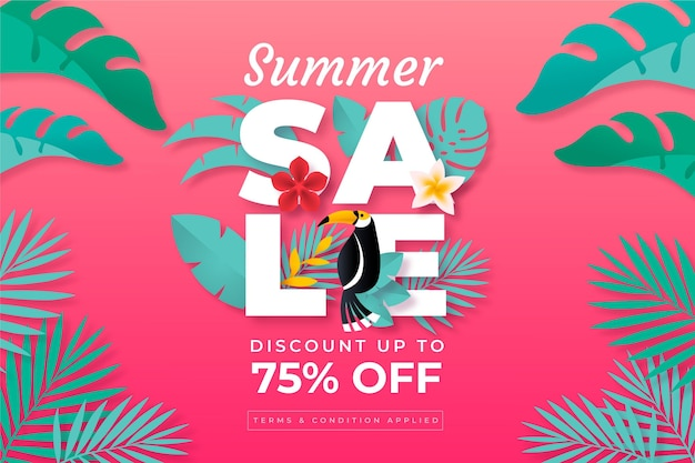Paper style summer sale illustration