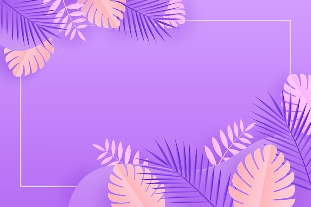 Paper style tropical leaves background