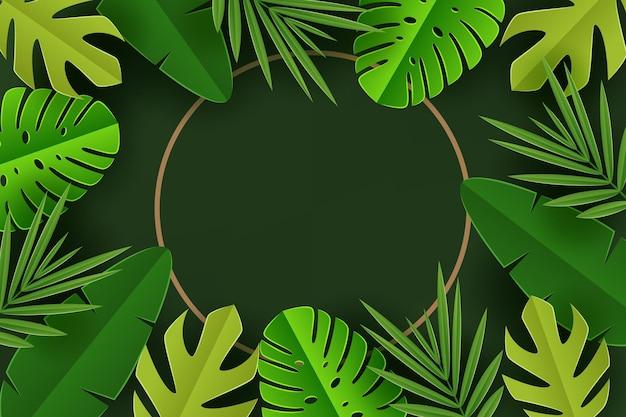紙のスタイルの熱帯の葉の背景