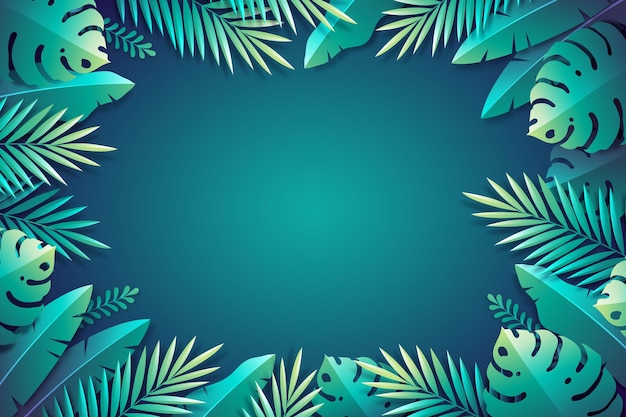 Бумажный стиль тропических листьев фон Бесплатные векторы
