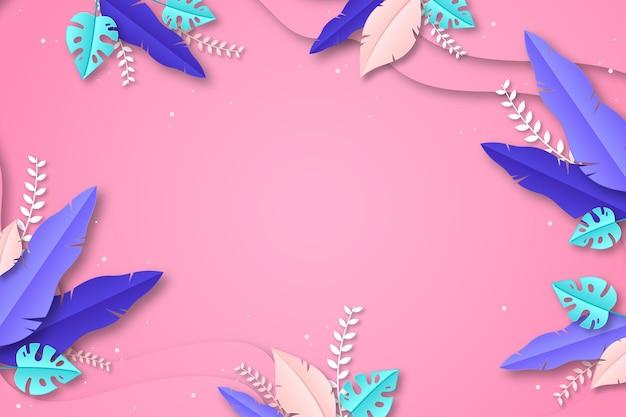 종이 스타일 열대 잎 여름 배경