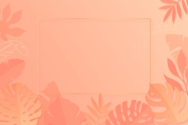Paper style tropical leaves summer background