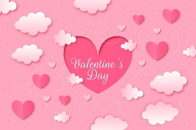 紙のスタイルのバレンタインデーの背景