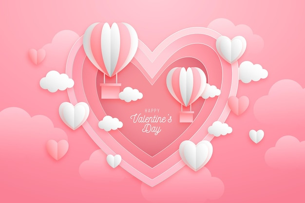Paper style valentine's day background