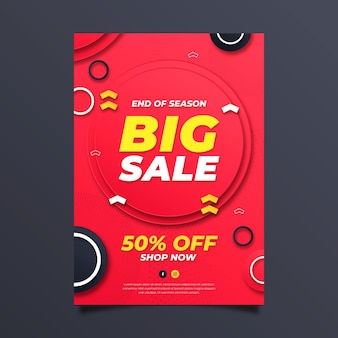 Paper style vertical sale poster template