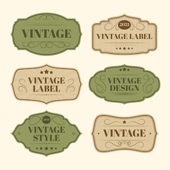 Paper style vintage label collection Free Vector