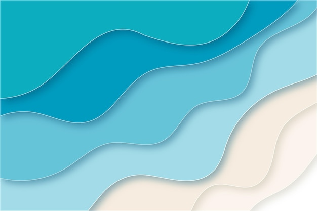Paper style wavy beach concept background