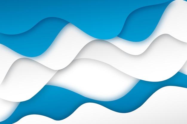 紙のスタイルの波状の青と白の背景