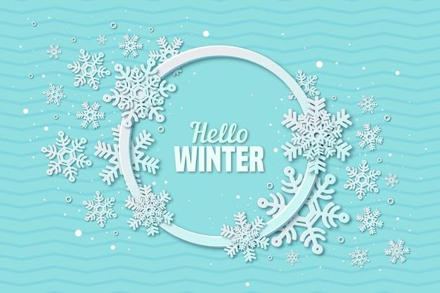 Зимний фон в стиле бумаги