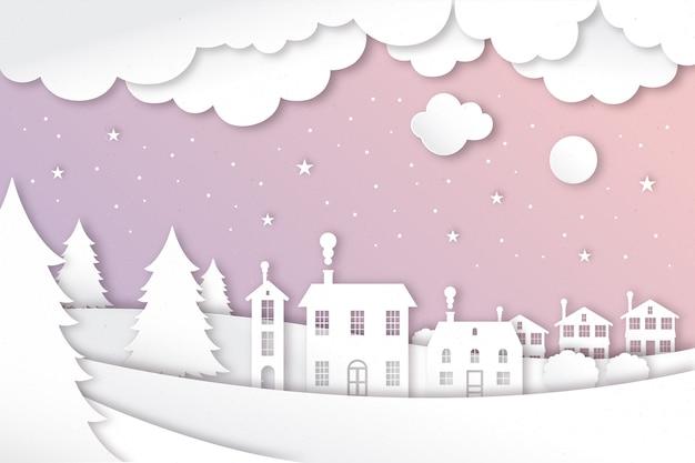 Paper style winter landscape
