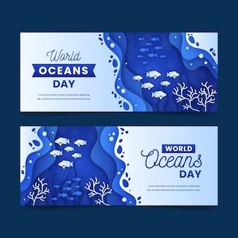 Набор баннеров всемирного дня океанов в бумажном стиле
