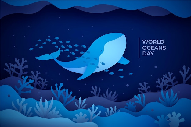 Paper style world oceans day illustration