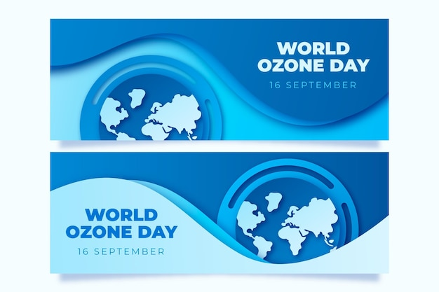Paper style world ozone day banners set