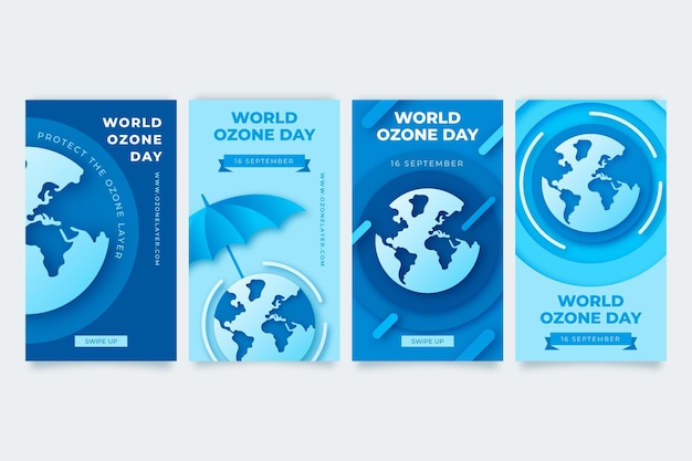 Paper style world ozone day instagram stories collection