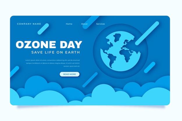 Шаблон целевой страницы всемирного дня озона в бумажном стиле