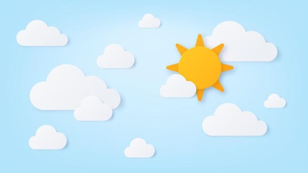 종이 태양과 구름. 여름 화창한 날, 흰 구름과 푸른 하늘. 종이 컷 스타일의 자연 흐린 장면. 좋은 날씨 벽지 벡터 아트입니다. 태양과 cloudscape, 구름 종이 접기 그림