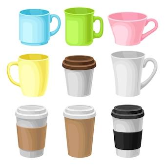 紙は、白い背景の上のコーヒーカップ包装テンプレートイラストを奪う