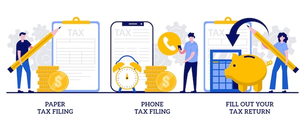 Paper tax filing, phone tax filing, fill out your tax return concept with tiny people. revenue declaration ways, convenient methods, reporting on paper and by phone abstract vector illustration set.