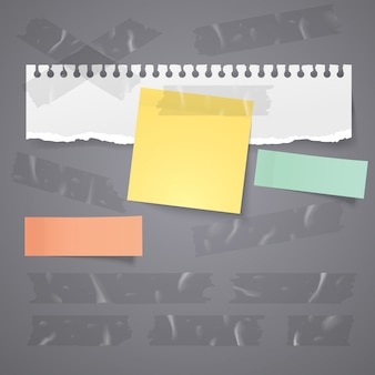 Paper tear and sticky note with transparent adhesive plastic tape