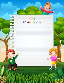 Paper template design with children on nature background