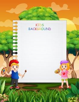 幸せな子供たちの絵と紙のテンプレートデザイン