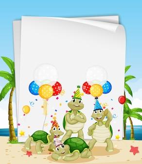 パーティーをテーマにかわいい動物と紙のテンプレート
