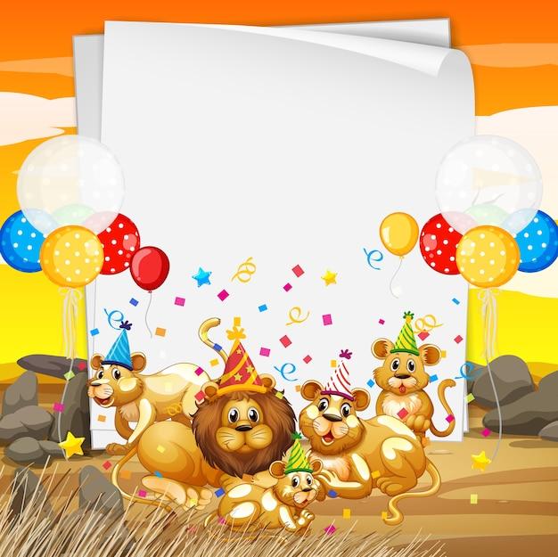 パーティーをテーマにしたかわいい動物と紙のテンプレート