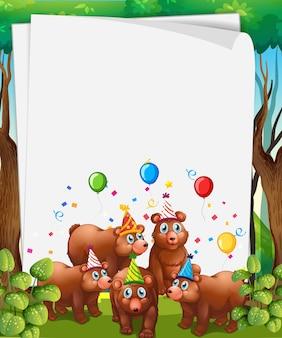 파티 테마에 귀여운 동물과 종이 서식 파일