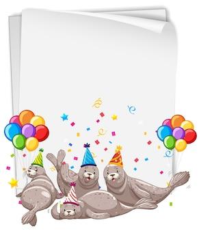 Бумажный шаблон с милыми животными в тематике вечеринки